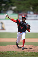 Batavia Muckdogs relief pitcher Edward Cabrera (30) delivers a warmup pitch during a game against the West Virginia Black Bears on June 25, 2017 at Dwyer Stadium in Batavia, New York.  West Virginia defeated Batavia 6-4 in the completion of the game started on June 24th.  (Mike Janes/Four Seam Images)
