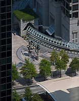 "aerial photograph of  the ""Ballet Olympia""  sculpture by Paul Manship at One Peachtree Center, Atlanta, Georgia"