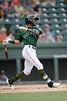Second baseman Kervin Suarez (36) of the Greenville Drive bats in a game against the West Virginia Power on Sunday, May 19, 2019, at Fluor Field at the West End in Greenville, South Carolina. Greenville won, 8-4. (Tom Priddy/Four Seam Images)