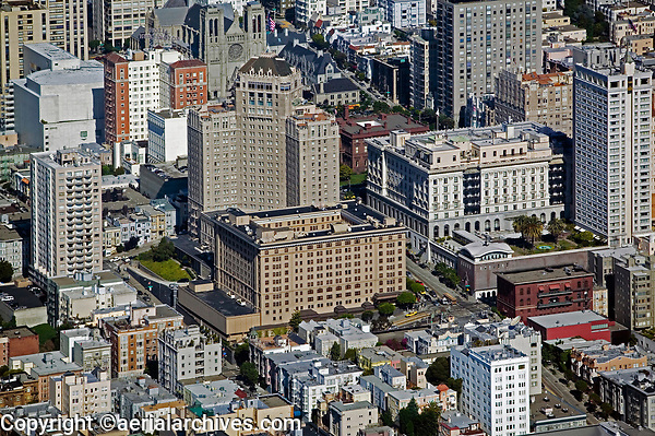 aerial photograph of Nob Hill, showing the Mark Hopkins hotel, California Street and Grace cathedral, San Francisco, California