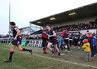 London Scottish players enter the pitch during the Greene King IPA Championship match between London Scottish Football Club and Bedford Blues at Richmond Athletic Ground, Richmond, United Kingdom on 23 December 2017. Photo by Mark Kerton / PRiME Media Images.