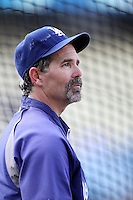 Trey Hillman #45, bench coach of the Los Angeles Dodgers, before game against the Atlanta Braves at Dodger Stadium in Los Angeles,California on April 19, 2011. Photo by Larry Goren/Four Seam Images