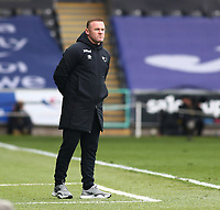 1st May 2021; Liberty Stadium, Swansea, Glamorgan, Wales; English Football League Championship Football, Swansea City versus Derby County; Wayne Rooney, Manager of Derby County watches the final stages of the game