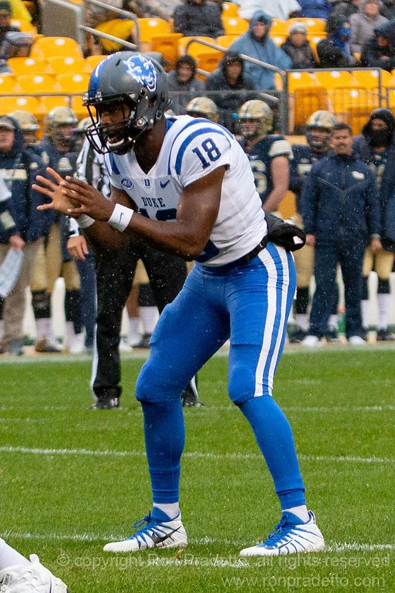 Duke quarterback Quentin Harris. The Pitt Panthers football team defeated the Duke Blue Devils 54-45 on November 10, 2018 at Heinz Field, Pittsburgh, Pennsylvania.