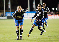 13 September 2008: Ronnie O'Brien bows to the fans after scoring a goal during the first half of the game against the Dynamo at Buck Shaw Stadium in Santa Clara, California.   San Jose Earthquakes tied Houston Dynamo, 1-1.
