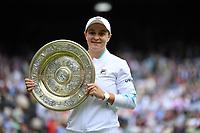 10th July 2021. Wilmbledon, SW London England. Wimbledon Tennis Championships 2021, Ladies singles final Ashleigh Barty versus Karolina Pliskova (Czech); Ashleigh Barty Aus  celebrates her win