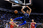 Dwight Powell of Dallas Mavericks (C) dunks during the NBA China Games 2018 match between Dallas Mavericks and Philadelphia 76ers at Universiade Center on October 08 2018 in Shenzhen, China. Photo by Marcio Rodrigo Machado / Power Sport Images