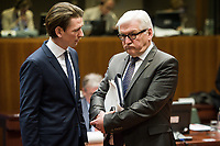 Austrian Foreign Minister Sebastian Kurz (L) and German Foreign Minister Frank Walter-Steinmeier   prior to the European Union Foreign Ministers Council at EU headquarters  in Brussels, Belgium on 29.01.2015 Federica Mogherini , EU High representative for foreign policy called extraordinary meeting on the situation in Ukraine after the attack on Marioupol.  by Wiktor Dabkowski