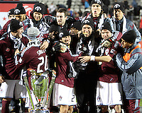 Colorado players look at the trophyDuring post game trophy Celebration after MLS Cup 2010 at BMO Stadium in Toronto, Ontario on November 21 2010.