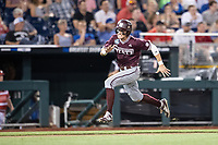 Mississippi State Bulldogs outfielder Jake Mangum (15) sprints around third base during Game 10 of the NCAA College World Series against the Louisville Cardinals on June 20, 2019 at TD Ameritrade Park in Omaha, Nebraska. Louisville defeated Mississippi State 4-3. (Andrew Woolley/Four Seam Images)