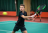Wateringen, The Netherlands, December 15,  2019, De Rhijenhof , NOJK juniors doubles, final boys 12 years,  Mees Röttgering (NED) and Hidde Schoenmakers (NED) (L)<br /> Photo: www.tennisimages.com/Henk Koster