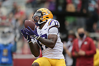 LSU wide receiver Racey McMath (17) catches the ball for a score, Saturday, November 21, 2020 during the second quarter of a football game at Donald W. Reynolds Razorback Stadium in Fayetteville. Check out nwaonline.com/201122Daily/ for today's photo gallery. <br /> (NWA Democrat-Gazette/Charlie Kaijo)