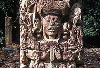 STELA B (AD 721), MAYAN stone carving, depicting the accession of 18 Rabbit, a Mayan ruler - COPAN RUINS, HONDURAS