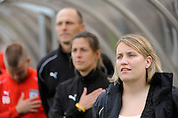 Chicago Red Stars head coach Emma Hayes, assistant coach Denise Reddy, and goalkeeper coach Nathan Kipp. Sky Blue FC defeated the Chicago Red Stars 1-0 during a Women's Professional Soccer match at Yurcak Field in Piscataway, NJ, on June 17, 2009.