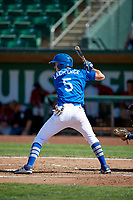 Kevin Lachance (5) of the Ogden Raptors bats against the Idaho Falls Chukars in Pioneer League action at Lindquist Field on July 2, 2017 in Ogden, Utah. Ogden defeated Idaho Falls 6-5. (Stephen Smith/Four Seam Images)