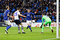 Danny Ward of Cardiff City (3rd L) runs towards Declan Rudd of Preston North End (R) during the Sky Bet Championship match between Cardiff City and Preston North End at the Cardiff City Stadium, Wales, UK. Saturday 21 December 2019
