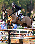 Olympic gold medalist Beezie Madden and Play On won the inaugural $50,000 CN Palm Beach Jumping Derby on Sunday, Feb. 15 at the Stadium at Palm Beach International Equestrian Center in Wellington, Fla. Madden bested 33 other starters from seven countries, including Olympic gold medalists Leslie Howard of the United States, Eric Lamaze of Canada and Rodrigo Pessoa of Brazil. Formerly the site of Palm Beach Polo Stadium - made famous by the world's best polo players, steeplechase competitors and celebrities including Prince Charles and Princess Diana - the field came alive with a new derby course not often seen in the U.S. Part of the FTI Winter Equestrian Festival, the competition highlighted a type of show jumping popular in Europe. Nineteen natural obstacles and grand prix fences - including a double liverpool, water jump and a hedge - were mixed on a spread out course designed by Richard Jeffery of Great Britain, with extensive room between jumps. Photo by Bob Markey II.