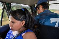 Passengers, travel in a cab towards a Sunday market in Eterazama town, Chapare region, Bolivia. December 01, 2019.<br /> Les passagers voyagent en taxi vers un marché dominical dans la ville d'Eterazama, région du Chapare, Bolivie. 01 décembre 2019.
