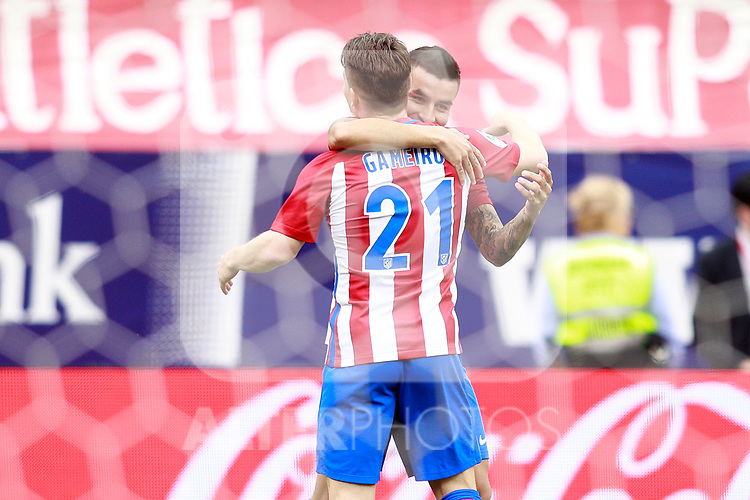 Atletico de Madrid's Angel Correa (r) and Kevin Gameiro celebrate goal during La Liga match. May 21,2017. (ALTERPHOTOS/Acero)