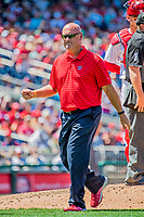 9 July 2017: Washington Nationals Director of Athletic Training Paul Lessard leaves the mound after evaluating a possible injury to starting pitcher Joe Ross in the 4th inning against the Atlanta Braves at Nationals Park in Washington, DC. The Nationals defeated the Atlanta Braves to split their 4-game series going into the All-Star break. Mandatory Credit: Ed Wolfstein Photo *** RAW (NEF) Image File Available ***