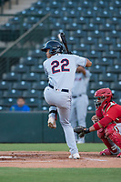 AZL Indians 2 right fielder Jhon Torres (22) at bat during an Arizona League game against the AZL Angels at Tempe Diablo Stadium on June 30, 2018 in Tempe, Arizona. The AZL Indians 2 defeated the AZL Angels by a score of 13-8. (Zachary Lucy/Four Seam Images)