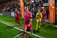 Noemie Fourdin (11 Charleroi) pictured entering the pitch during a female soccer game between  AA Gent Ladies and Sporting Charleroi Feminin on the fifth matchday of the 2020 - 2021 season of Belgian Scooore Womens Super League , friday 16 th of October 2020  in Oostakker , Belgium . PHOTO SPORTPIX.BE | SPP | DAVID CATRY