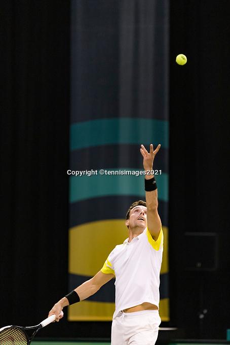 Rotterdam, The Netherlands, 3 march  2021, ABNAMRO World Tennis Tournament, Ahoy, First round singles: Roberto Bautista Agut (ESP).<br /> Photo: www.tennisimages.com/
