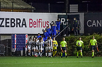 Players entering the field before a female soccer game before Sporting Charleroi and KRC Genk Ladies on the 9th matchday of the 2020 - 2021 season of Belgian Scooore Womens Super League , friday 11 th of December 2020  in Marcinelle , Belgium . PHOTO SPORTPIX.BE | SPP | STIJN AUDOOREN