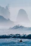 Surf kayaking, La Push, Olympic National Park, Beach #1, Surf Frolic, Pacific Coast, Olympic Peninsula, Washington State, USA,.