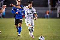SAN JOSE, CA - MAY 15: Claudio Bravo #5 of the Portland Timbers passes the ball during a game between San Jose Earthquakes and Portland Timbers at PayPal Park on May 15, 2021 in San Jose, California.