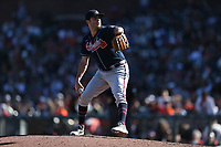 SAN FRANCISCO, CA - SEPTEMBER 19:  Luke Jackson #77 of the Atlanta Braves pitches against the San Francisco Giants during the game at Oracle Park on Sunday, September 19, 2021 in San Francisco, California. (Photo by Brad Mangin)