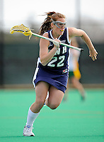 9 April 2008: University of New Hampshire Wildcats' Attackman Susie Piotrkowski, a Freshman from Franklin, CT, in action against the University of Vermont Catamounts at Moulton Winder Field, in Burlington, Vermont. The Catamounts rallied to defeat the visiting Wildcats 9-8 in America East divisional play...Mandatory Photo Credit: Ed Wolfstein Photo
