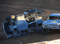 Dec. 10, 2011; Chandler, AZ, USA;  LOORRS pro 2 unlimited driver Rob MacCachren (1) crashes during round 15 at Firebird International Raceway. Mandatory Credit: Mark J. Rebilas-