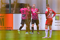 Jules Van Cleemput (4) of Sporting Charleroi scores 1-0 and Charleroi can celebrate during a friendly soccer game between Zulte Waregem and Sporting Charleroi during the preparations for the 2021-2022 season , on Saturday 10 th of July 2021 in Ingelmunster , Belgium . PHOTO STIJN AUDOOREN   SPORTPIX