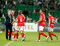 18th April 2021; HBF Park, Perth, Western Australia, Australia; A League Football, Perth Glory versus Wellington Phoenix; Wellington players run to their coach Ufuk Talay after Benjamin Waine scored in the 56th minute to make the score 0-1
