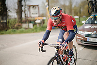 Sonny COLBRELLI (ITA/Bahrain-Merida) finding his way back towards the peloton after a mechanical<br /> <br /> 81st Gent-Wevelgem 'in Flanders Fields' 2019<br /> One day race (1.UWT) from Deinze to Wevelgem (BEL/251km)<br /> <br /> ©kramon