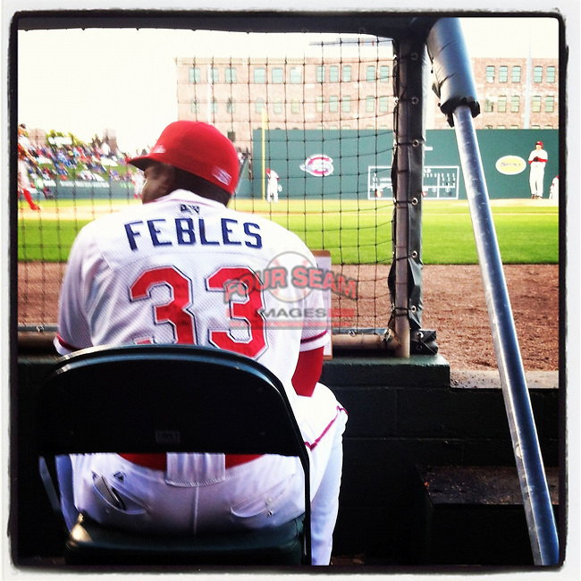Manager Carlos Febles watched the game from this spot. (Tom Priddy/Four Seam Images)