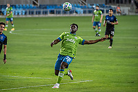 SAN JOSE, CA - OCTOBER 18: Yeimar Gomez Andrade #28 of the Seattle Sounders anticipates the ball during a game between Seattle Sounders FC and San Jose Earthquakes at Earthquakes Stadium on October 18, 2020 in San Jose, California.