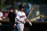 Inland Empire 66ers left fielder Jonah Todd (7) walks towards the dugout to retrieve a new bat during a California League game against the Lancaster JetHawks at San Manuel Stadium on May 20, 2018 in San Bernardino, California. Inland Empire defeated Lancaster 12-2. (Zachary Lucy/Four Seam Images)