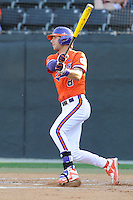 Third baseman Weston Wilson (8) of the Clemson Tigers bats in a game against the Wofford College Terriers on Tuesday, May 5, 2015, at Russell C. King Field in Spartanburg, South Carolina. Wofford won, 17-9. (Tom Priddy/Four Seam Images)