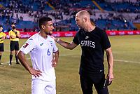 SAN PEDRO SULA, HONDURAS - SEPTEMBER 8: Bryan Acosta #6 of Acosta talks with Gregg Berhalter of the United States after a game between Honduras and USMNT at Estadio Olímpico Metropolitano on September 8, 2021 in San Pedro Sula, Honduras.