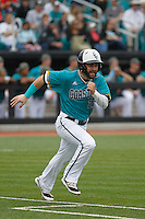 University of Coastal Carolina Chanticleers outfielder Anthony Marks (29) at bat during a game against the University of Virginia Cavaliers at Springs Brooks Stadium on February 21, 2016 in Conway, South Carolina. Coastal Carolina defeated Virginia 5-4. (Robert Gurganus/Four Seam Images)