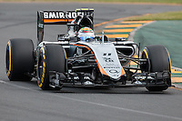 March 14, 2015: Sergio Perez (MEX) #11 from the Sahara Force India F1 Team rounds turn two during qualification at the 2015 Australian Formula One Grand Prix at Albert Park, Melbourne, Australia. Photo Sydney Low