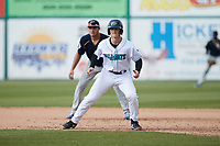 Will Bartlett (44) of the Lynchburg Hillcats takes his lead off of first base against the Myrtle Beach Pelicans at Bank of the James Stadium on May 23, 2021 in Lynchburg, Virginia. (Brian Westerholt/Four Seam Images)