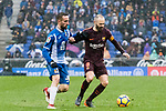 Andres Iniesta Lujan of FC Barcelona (R) fights for the ball with Sergi Darder Moll of RCD Espanyol (L) in action during the La Liga 2017-18 match between RCD Espanyol and FC Barcelona at RCDE Stadium on 04 February 2018 in Barcelona, Spain. Photo by Vicens Gimenez / Power Sport Images