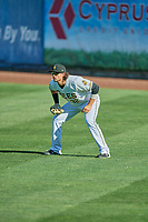Jarrett Parker (32) of the Salt Lake Bees on defense against the Albuquerque Isotopes at Smith's Ballpark on April 27, 2019 in Salt Lake City, Utah. The Isotopes defeated the Bees 10-7. This was a makeup game from April 26, 2019 that was cancelled due to rain. (Stephen Smith/Four Seam Images)
