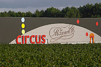 Winery building. The industrial syle winery for Circus and Michel Lynch by Jean Michel Casez. Medoc, Bordeaux, France