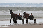 August 16, 2021, Deauville (France) - Trotters training at the beach in Deauville. [Copyright (c) Sandra Scherning/Eclipse Sportswire)]