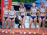 5th June 2021; Birmingham University Athletics Track, Birmingham, Midlands, England; European 10000 Metre Finals, British Olympic Trials 10000 Metre; British women's team line up for their race. Ockenden, Nesbitt, McColgan, Markovc and Judd