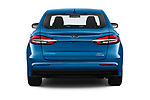 Straight rear view of 2019 Ford Fusion-Hybrid SEL 4 Door Sedan Rear View  stock images